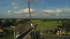 Dutch classic windmill in the Netherlands aerial shots Stock Footage