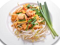 Thai food pad thai , stir fry noodles with shrimp Stock Photos