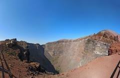 The crater of mount vesuvius near naples, italy Stock Photos