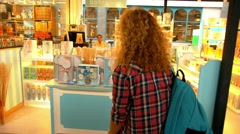 Tourist Excited Shopping Woman Happy in Shopping Mall at Vacation - stock footage