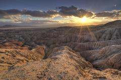USA, California, Anza-Borrego Desert State Park, Sunset in Badlands Stock Photos