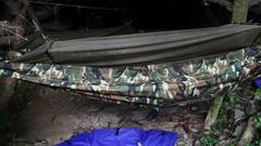 Hammock in jungle slider shoot Stock Footage