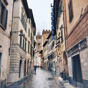 Italia, Tuscany, Poggibonsi, Rainy day on streets Stock Photos