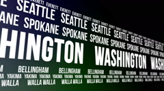Washington State and Major Cities Scrolling Banner Stock Footage