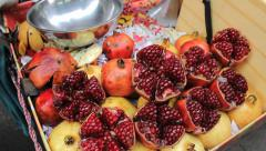 Asian Fruit Seller With Fresh Pomegranate Stock Footage