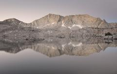 """USA, California, Sierra National Forest, Reflections in """"Hell For Sure"""" Lake Stock Photos"""