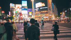 POV shot of people crossing the street, Shibuya, Tokyo Stock Footage