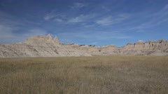 P03943 Slow Pan of Beautiful Northern Great Plains Badlands Scenery Stock Footage