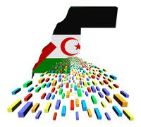Stock Illustration of western sahara map flag with containers illustration