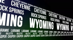 Wyoming State and Major Cities Scrolling Banner Stock Footage
