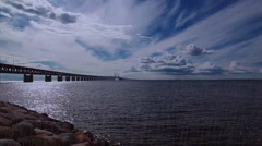 Oresund Bridge, bridge on the sea, rainy day Stock Footage