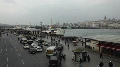 Eminonu pier in Istanbul, Turkey Stock Footage