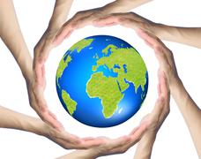 Stock Illustration of hands making a circle  surrounding the earth