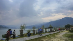 Pokhara Nepal Lake people time lapse Stock Footage