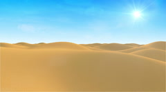 Animation of Desert Sand Dunes Flight at Day with Sunlight - stock footage