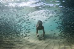 Underwater shot of boy swimming with shoal of fish Stock Photos