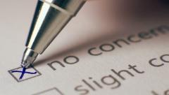 No Concern Checkbox Marking Survey - stock footage