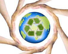 hands making a circle  surrounding the recycle earth - stock illustration