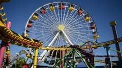 Ferris Wheel at Amusement Park in Santa Monica, California Stock Footage