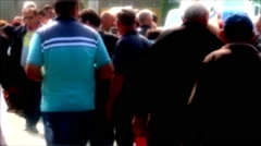 People Walking In A Crowd Blur Soft Glow Effect Post Production Stock Footage