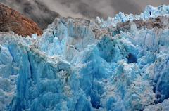 USA, Alaska, Tongass National Forest near Juneau, Blue ice of South Sawyer - stock photo
