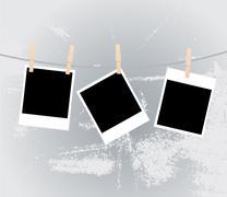 Photos on clothesline Stock Illustration