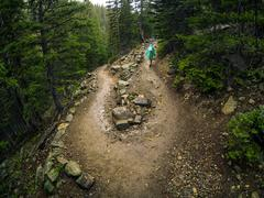 USA, Colorado, Larimer County, Hiker conquering adversity during rainy hike in Stock Photos