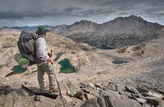 USA, California, Kings Canyon National Park, Hiker Atop Glen Pass Stock Photos