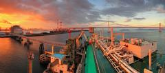 Japan, LNG ship Discharging Operation - stock photo