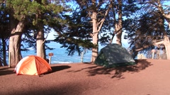 Clifftop campsite on the coast Stock Footage