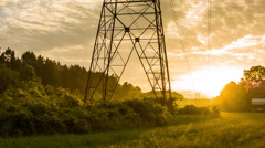 Sunrise Electric Tower Stock Footage