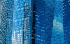 France, Paris, La Defense, Close up of glass skyscraper facade Stock Photos