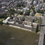 UK, London, Aerial view of Westminster & Big Ben Stock Photos