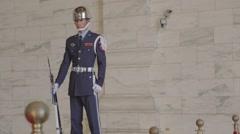 Chiang Kai Shek Memorial hall -  dolly shot of guard moving left Stock Footage