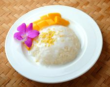 Thai dessert, mango with sticky rice. Stock Photos