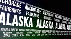 Alaska State and Major Cities Scrolling Banner Stock Footage