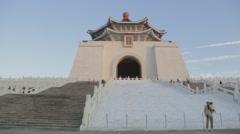 Chiang Kai Shek Memorial hall  - at footsteps sunset dolly Stock Footage