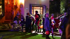 Trick or treaters on Halloween - stock footage
