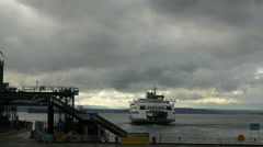 A Ferry Boat Leaves Seattle Stock Footage