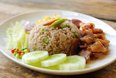 Fried rice with shrimp paste, thai style food Kuvituskuvat