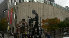 Hammering Man Sculpture, Seattle Art Museum, 4K, UHD Stock Footage