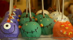Halloween Candy Apples In Shop Window, 4K, UHD Stock Footage