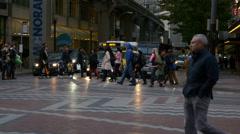 People, crowds walking on city street. Seattle, 4K, UHD Stock Footage