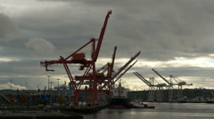 Container ship, port and cranes, Seattle, 4K UHD Stock Footage