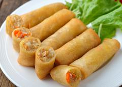 Fried chinese traditional spring rolls food Stock Photos