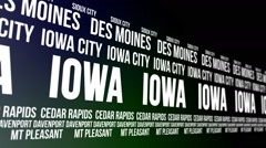 Iowa State and Major Cities Scrolling Banner Stock Footage