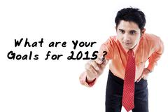 Businessman ask the goals in 2015 Stock Photos