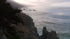 Misty Sunrise on BIg Sur Coastline Stock Footage
