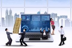 Busy workers manage their business Stock Illustration