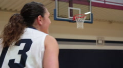 Female Basketball Player Shoots Three Pointer Stock Footage